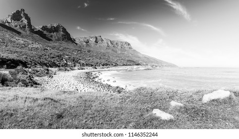 Coastline along the Chapman's Peak Drive near Cape Town in South Africa, Africa in black and white
