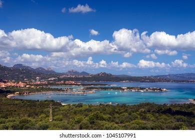 The coastline of Baia Sardinia on the northeast of the Island of Sardinia, Italy.