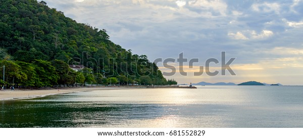 Coastline and beach near the Kep village in Cambodia on sunrise
