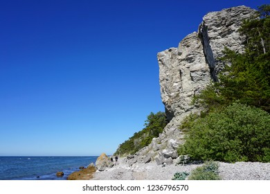 Coastline at the beautiful travel destination Gotland island in the Sweden,  Baltic sea.