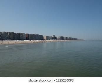 The coastline of the Belgian coastal city of Blankenberge.