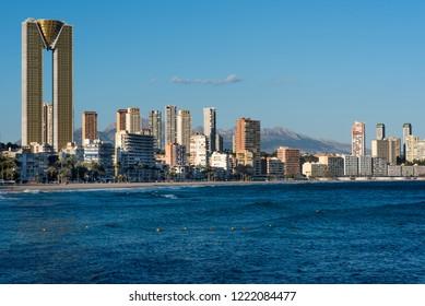 Coastline of a Benidorm city. Benidorm is a modern resort city, one of the most popular travel destinations in Spain. Costa Blanca, Alicante