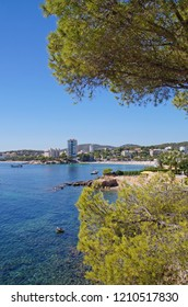 The coastline between Magaluf and Palma Nova which is popular vacation resorts on Mallorca