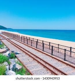 Coastline bike rail in Jeongdongjin, Korea