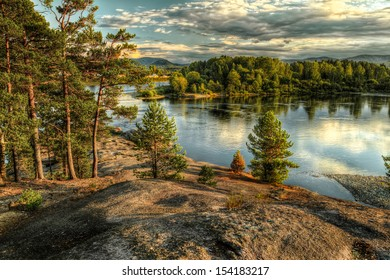 Coastline of Biya river in Turochak village (Russia, Altay Republic)