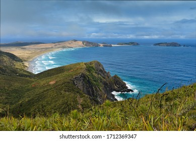 Coastline of Cape Reinga at the northern-most part of New Zealand, where the Tasman Sea meets the Pacific Ocean