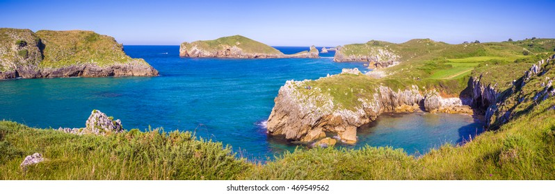 The coastline of Celorio, Asturias, Spain, This is one of the most beautiful region of the country, filled with trees, mountains, and sea.
