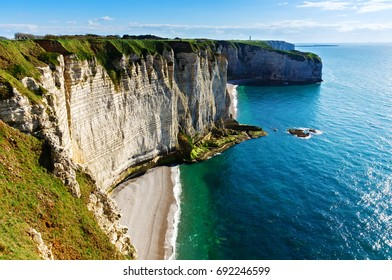 Coastline and  chalk cliffs of Etretat, Normandy, France, Europe