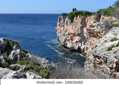 Coastline cliffs and sea, Menorca, Spain
