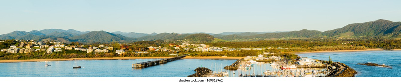 Coastline of Coffs Harbour in New South Wales Australia taken from top of Muttonbird Island Nature Reserve