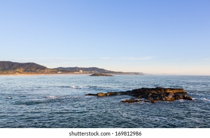 Coastline of Coffs Harbour in New South Wales Australia taken from causeway towards Muttonbird Island Nature Reserve