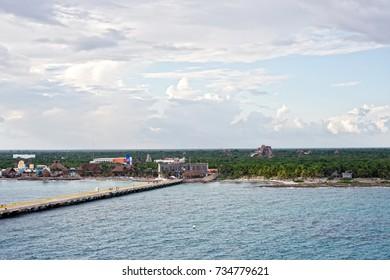 Coastline of Costa Maya near the Cruise ship port