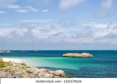 Coastline of Glenan archipelago in Brittany France