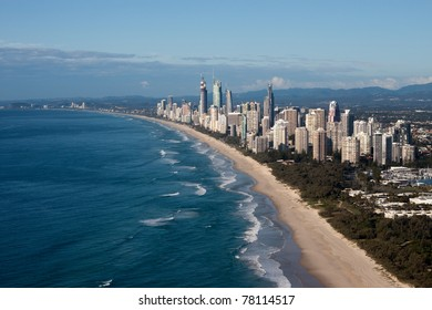 The Coastline of Gold Coast, Queensland.  One of Australia's major tourist destinations.  Broad View of Surfers Paradise and the coastline and it's world famous Surfing beaches.