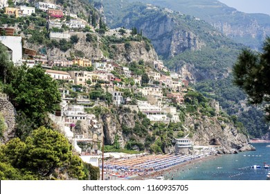 Coastline of Italian city Positano. Summer sunny day. Vacation abstract photo. High quality photo.