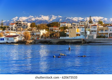 Coastline of Kato Galatas town with Samaria mountains on Crete, Greece