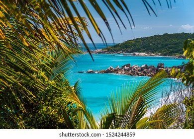 Coastline of La Digue island in Seychelles. Grand and Petite Anse paradise beaches with blue ocean lagoon between green foliage