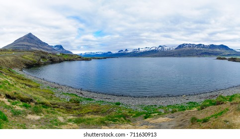 Coastline and landscape in the east fjords region, Iceland