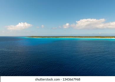 Coastline of a low lying Caribbean island in the Bahamas