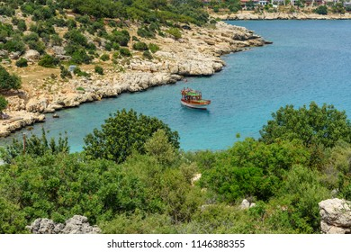 Coastline of Mediterranean Sea around Akyar region. Narlikuyu. Mersin. Turkey