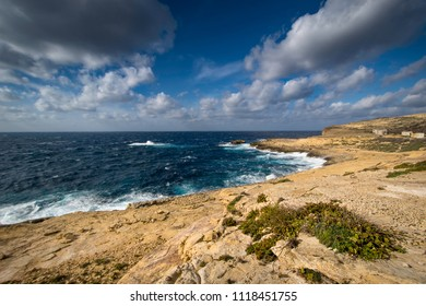 Coastline near Dwejra bay, Mediterranean Sea, Island of Gozo, Malta. Sea landscape.