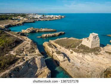 Coastline near Roca Vecchia, province of Lecce, in the Salento region of Puglia, southern Italy.