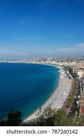 The coastline of Nice, France and the Promenade des Anglais