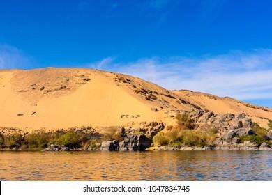 Coastline of the Nile river called First Cataract, Aswan, Egyptt