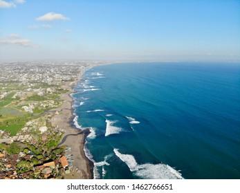 Coastline ocean and beach of Canggu in the south of Bali in Indonesia