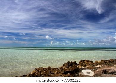 Coastline on Coco Cay, Bahamas.