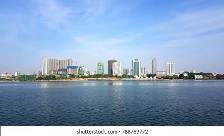 coastline overlooking johor bahru, malaysia