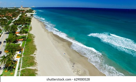 Coastline of Palm Beach, aerial view of Florida.