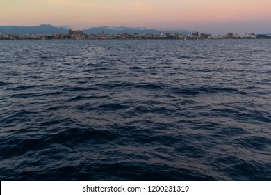 coastline of Palma de Mallorca with cathedral during beautiful sunset
