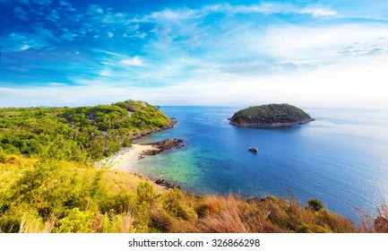 Coastline panoramic view of southern part of Phuket island in Thailand