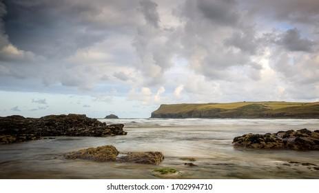 Coastline at Polzeath, Cornwall, England