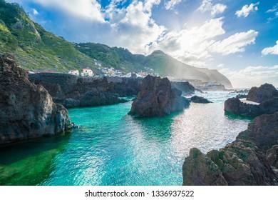 Coastline at Porto Moniz, Madeira island, Portugal