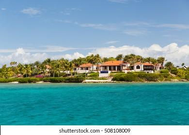 The coastline of residences off Antigua