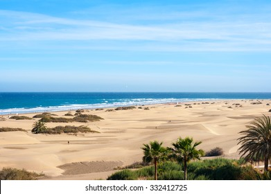 Coastline with sand dunes of Maspalomas. Gran Canaria, Canary Islands