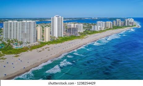 Coastline of Singer Island, Florida, USA; Riviera Beach, Florida, USA.