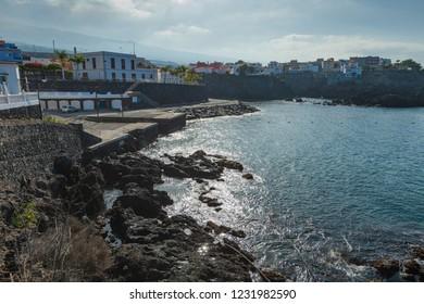 Coastline in the small fishing village of Alcala.  Tenerife. Canary Islands.Spain