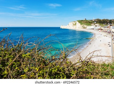 Coastline and stony beach of Etretat, Normandy, France, Europe