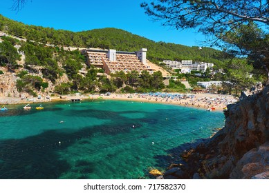 Coastline surrounded by stone formations in Puerto de San Miguel of Ibiza. Balearic Islands. Spain