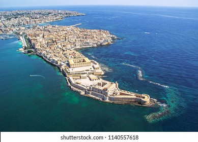 Coastline town Syracuse Sicily and old Ortigia island