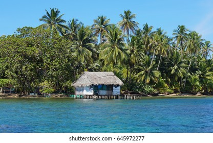 Coastline with tropical vegetation and a rustic house on stilts over the water, island of Bastimentos, Bocas del Toro, Panama, Caribbean sea, Central America