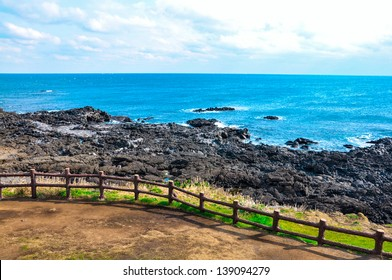 Coastline in Udo island, South Korea. Udo is a small and famous tourist island near Jeju island, South Korea