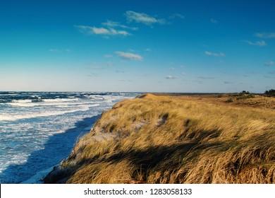 Coastline view of beach dunes landscape at Nationalpark Vorpommersche Boddenlandschaft at sunny winter storm day.  German Baltic Sea Darßer Ort, Weststrand coastline at Fischland-Darss-Zingst