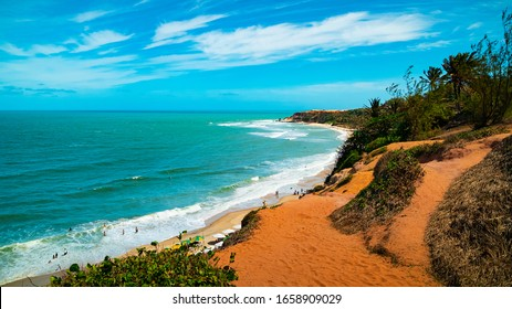 Coastline view of the beautiful tropical Praia do Amor which means Love Beach located near Pipa in the state of Rio Grande do Norte, Brazil.