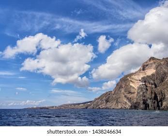 coasts of the island of Pantelleria, Sicily, Italy. Vulniche rocks and Mediterranean sea. beautiful colors
