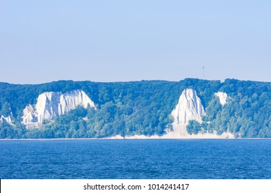 Coastscape and white cliffs of the Isle of Rügen, Mecklenburg-Pomerania, Germany, as see from the open sea.