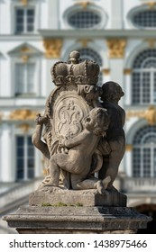 Coat of arms with children and crown in the Nymphenburg Palace of Munich (Schloss Nymphenburg - Castle of the Nymphs). The palace was the summer residence of the former rulers of Bavaria